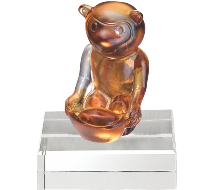 WS-51072福猴招財運亨通精品脫臘琉璃擺飾作品