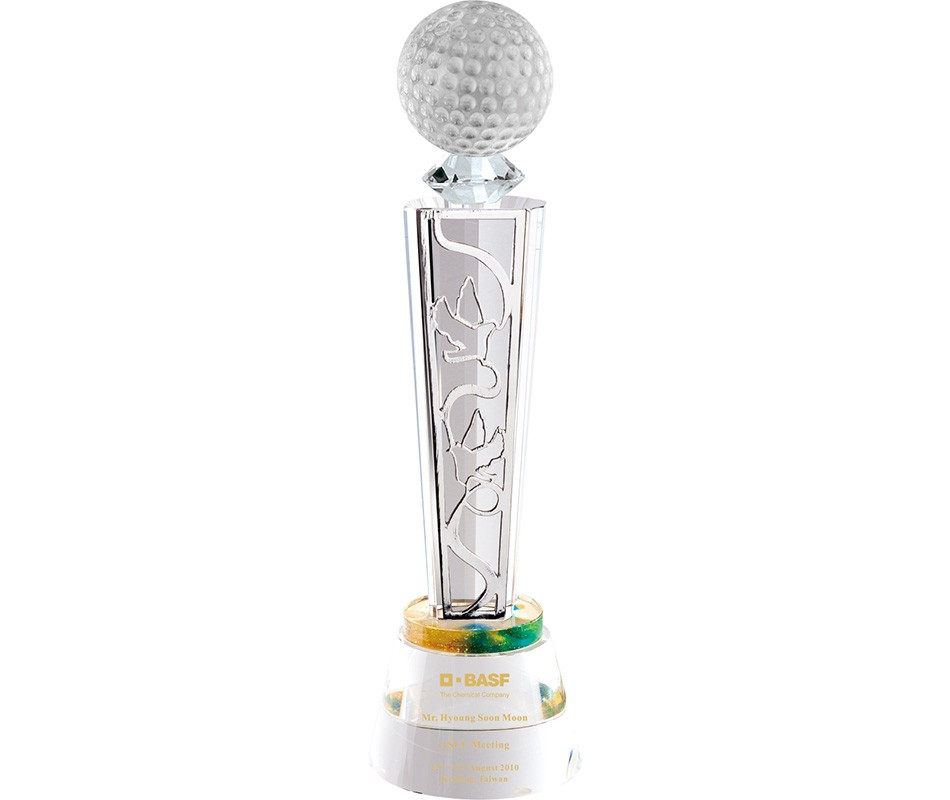 WS-01217水晶光球金屬片水晶圓座獎杯