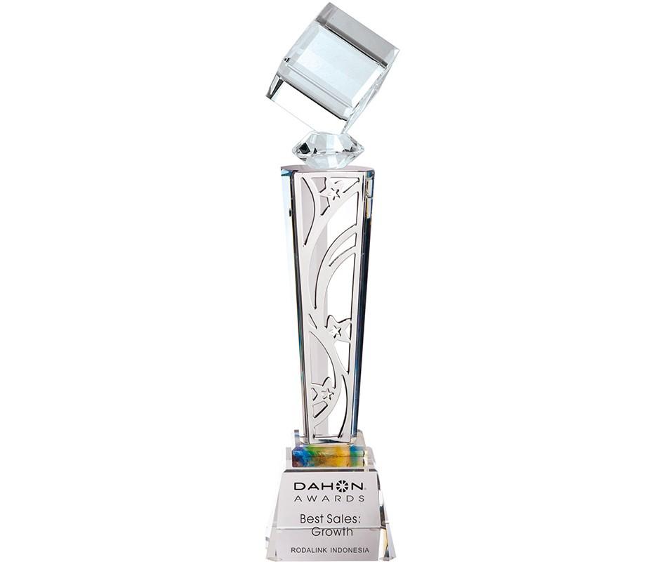 WS-01218水晶立方體金屬片水晶獎盃