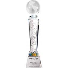 WS-01220水晶地球金屬片水晶獎盃