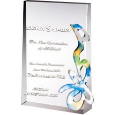 WS-42007水刀切割彩虹琉璃水晶獎牌