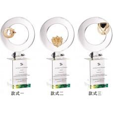 WS-42014金屬水晶簍空圓片彩虹琉璃獎座