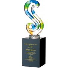WS-42042水刀切割造型彩虹琉璃黑水晶獎杯