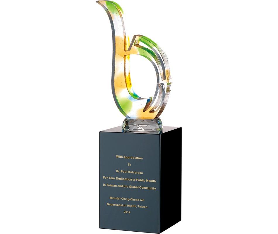 WS-42043水刀切割造型彩虹琉璃黑水晶獎杯