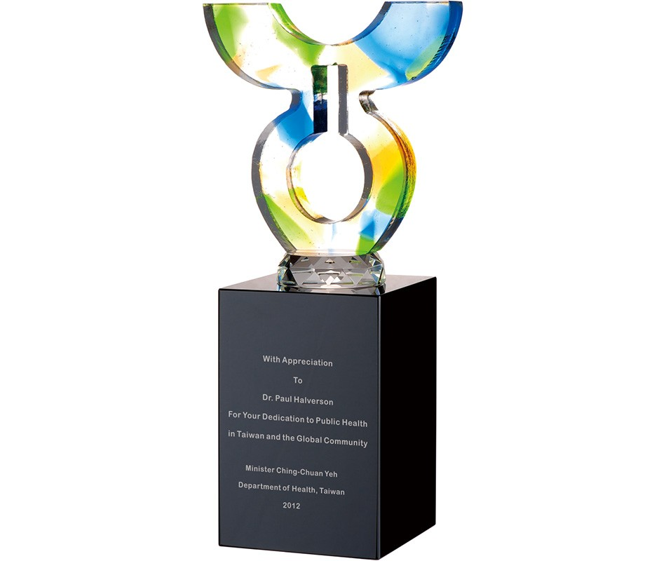 WS-42046水刀切割造型彩虹琉璃黑水晶獎杯