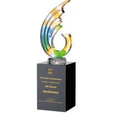 WS-42048水刀切割造型彩虹琉璃黑水晶獎杯