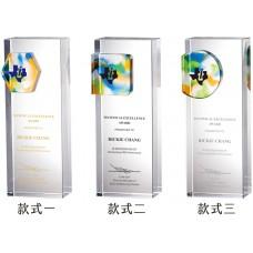 WS-52035幾何彩虹琉璃四方水晶柱獎盃