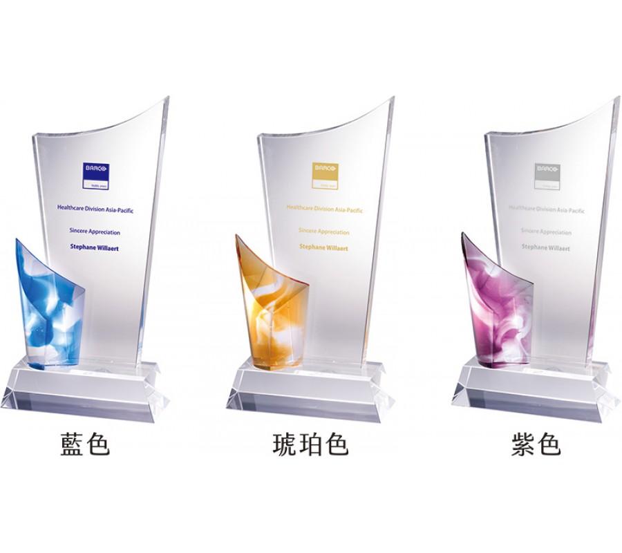 WS-52036立體造型彩虹琉璃水晶獎牌