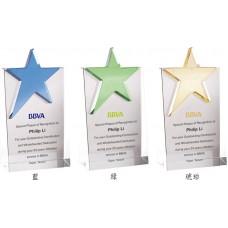 WS-03051星星造型斜面水晶獎牌