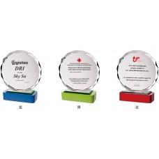WS-43023木質彩色座太陽片水晶獎牌
