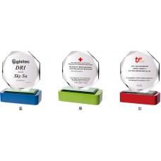 WS-43024木質彩色座八角片水晶獎牌