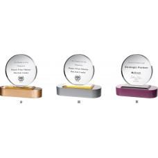 WS-43026木質彩色座圓片水晶獎牌