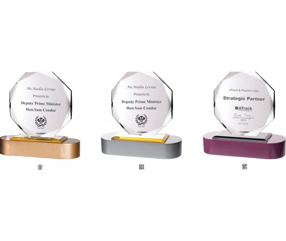 WS-43027木質彩色座八角片水晶獎牌