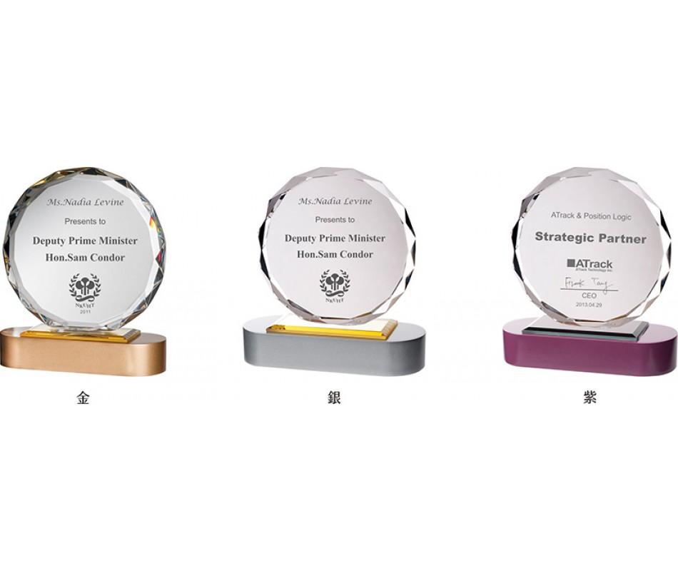 WS-43028木質彩色座太陽片水晶獎牌