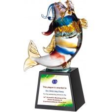 WS-48045魚躍奔騰玻璃拉絲水晶獎座