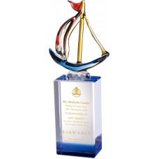 WS-58014揚帆玻璃拉絲水晶獎座